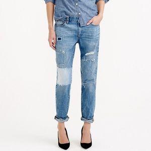 J crew broken in boyfriend patchwork jeans 28